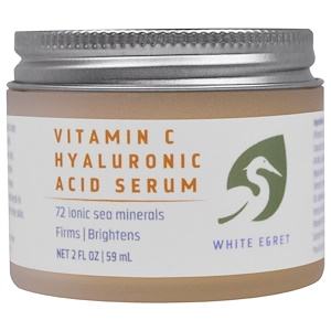 White Egret Personal Care, Сыворотка с гиалуроновой кислотой и витамином C, 2 жидких унции (59 мл) купить на iHerb