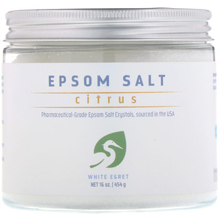 White Egret Personal Care, Epsom Salt, Citrus, 16 oz (454 g)