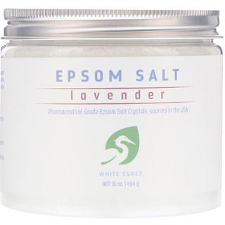 White Egret Personal Care, Lavender Epsom Salt, 16 oz (454 g)