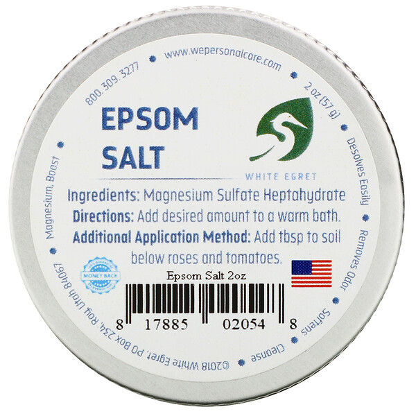 White Egret Personal Care, Epsom Salt, 2 oz (57 g)