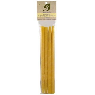 White Egret Personal Care, Beeswax, Therapeutic Candles, 4 Pack