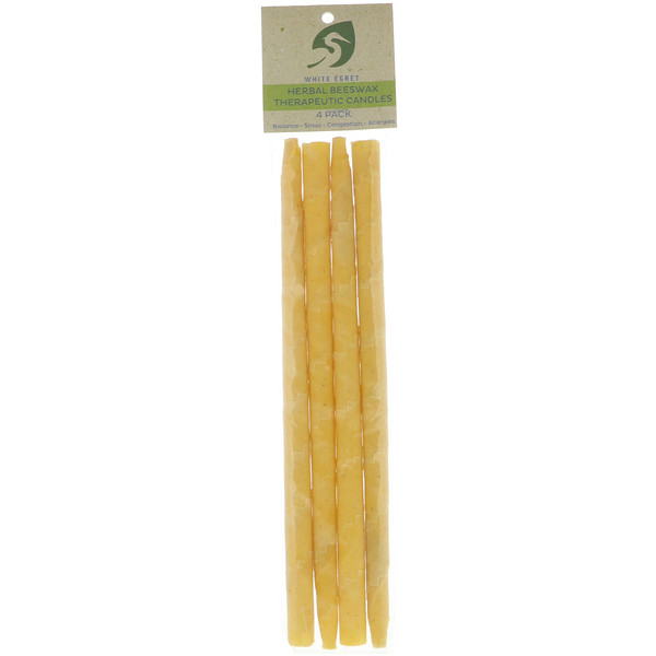 White Egret Personal Care, Herbal Beeswax Therapeutic Candles, 4 Pack (Discontinued Item)