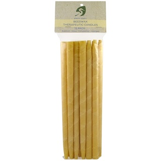 White Egret Personal Care, Beeswax Therapeutic Candles, 12 Pack