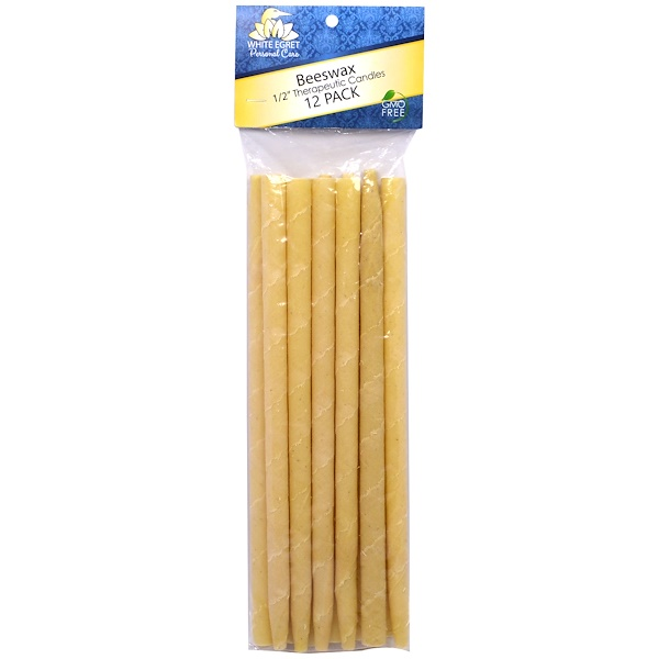 """White Egret Personal Care, 1/2"""" Therapeutic Candles, Beeswax, 12 Pack (Discontinued Item)"""
