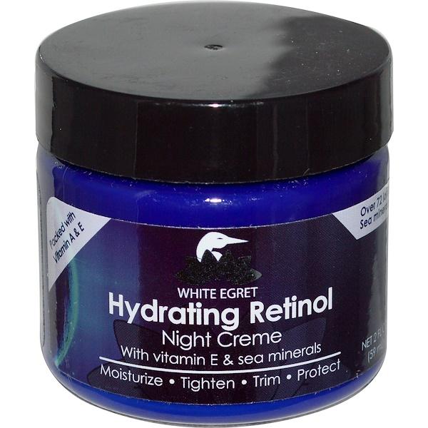White Egret Personal Care, Hydrating Retinol Night Cream, 2 fl oz (59 ml) (Discontinued Item)