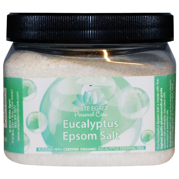 White Egret Personal Care, Eucalyptus Epsom Salt, 16 oz (Discontinued Item)