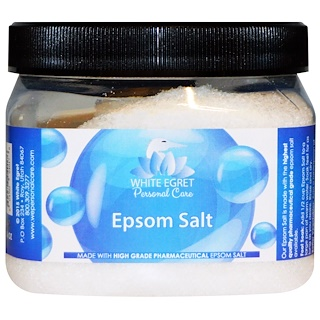 White Egret Personal Care, Epsom Salt, 16 oz