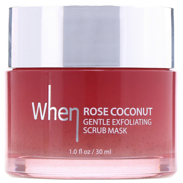 When Beauty, Rose Coconut Gentle Exfoliating Scrub Mask, 1.0 fl oz (30 ml) (Discontinued Item)