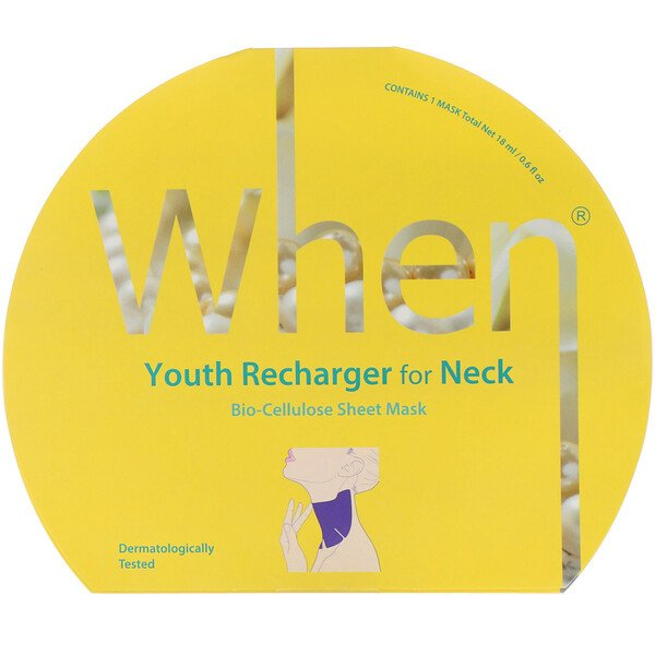 When Beauty, Youth Recharger for Neck, Bio-Cellulose Sheet Mask, 1 Sheet, 0.6 fl oz (18 ml) (Discontinued Item)