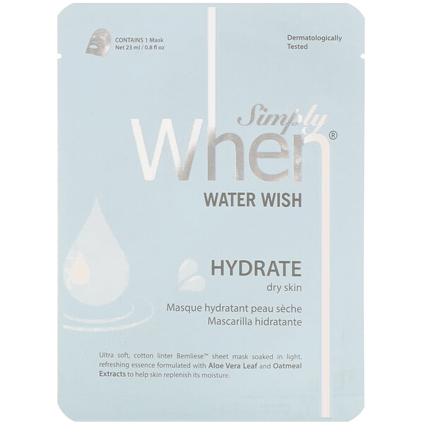 Simply When, Water Wish Sheet Mask, 1 Sheet, 0.8 fl oz (23 ml)