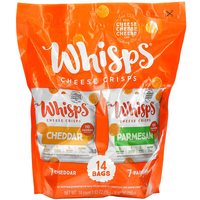 Купить Whisps Cheese Crisps Pack, 7 Cheddar, 7 Parmesan, 14 Bags, 0.63 oz ( 18 g) Each