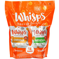 Whisps, Cheese Crisps Pack, Cheddar, Parmesan, 14 Bags, 0.63 oz (18 g) Each