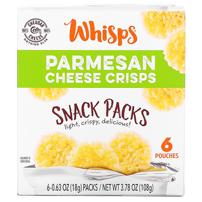 Whisps Parmesan Cheese Crisps, Snack Packs, 6 Pouches, 0.63 oz (18 g) Each