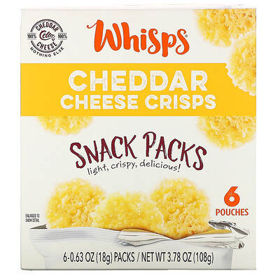 Whisps Cheddar Cheese Crisps, Snack Packs, 6 Pouches, 0.63 oz (18 g) Each