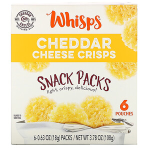 Whisps, Cheddar Cheese Crisps, Snack Packs, 6 Pouches, 0.63 oz (18 g) Each отзывы покупателей