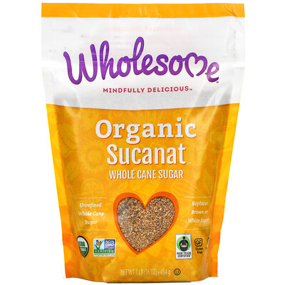 Купить Wholesome Organic Sucanat, Whole Cane Sugar, 16 oz (454 g)