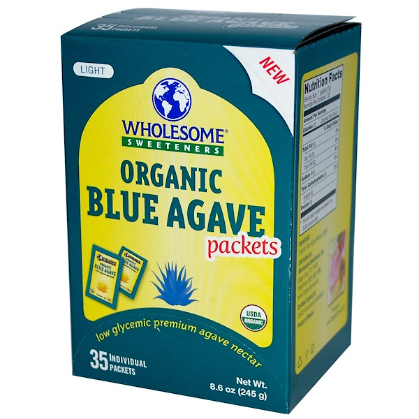 Wholesome Sweeteners, Inc., Organic Light Blue Agave Packets, 35 Packets, 7 g Each (Discontinued Item)