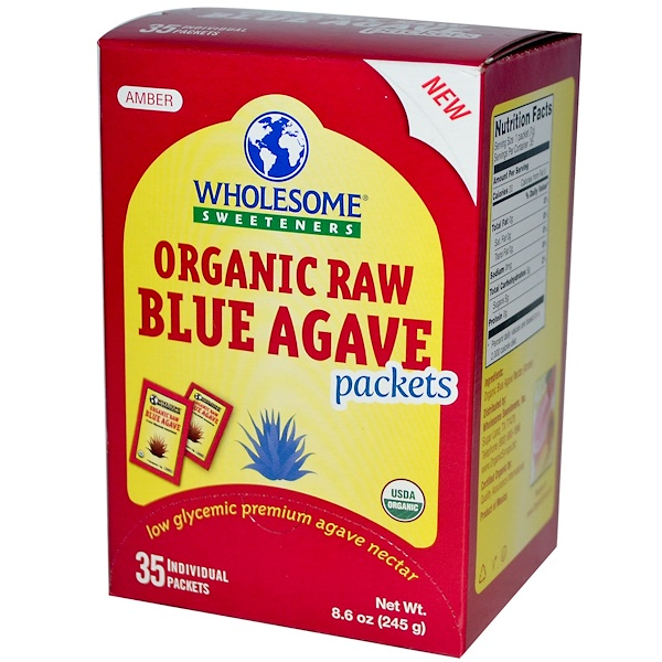 Wholesome Sweeteners, Inc., Organic Raw Blue Agave Packets, 35 Packets, 7 g Each (Discontinued Item)