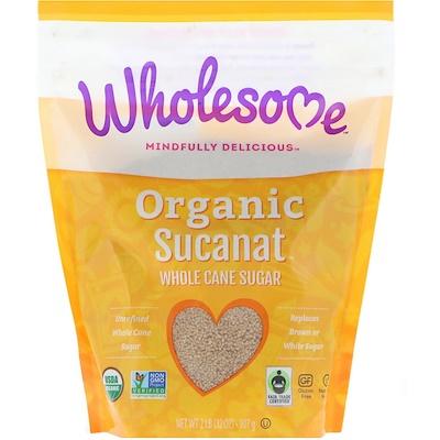 Wholesome Органический Sucanat, цельный тростниковый сахар, 907 г (2 фунта)