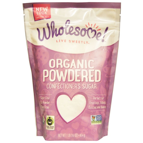 Wholesome Sweeteners, Inc., Organic Powdered Confectioners Sugar, 1 lb. (16 oz) - 454 g