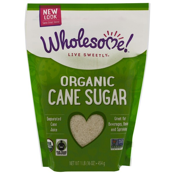 Wholesome, Organic Cane Sugar, 1 lb. (16 oz) - 454 g (Discontinued Item)