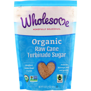 Wholesome Sweeteners, Inc., Organic Turbinado, Raw Cane Sugar, 1.5 lbs (24 oz.) - 680 g