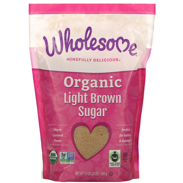 Wholesome, Organic Light Brown Sugar, 1.5 lbs (24 oz.) - 680 g