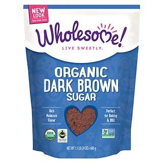 Wholesome Sweeteners, Inc., オーガニック ダークブラウンシュガー, 24オンス(681 g)
