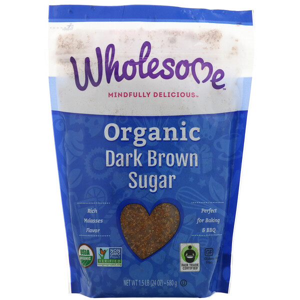 Organic Dark Brown Sugar, 1.5 lbs (24 oz.) - 680 g