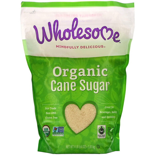 Wholesome, Organic Cane Sugar, 4 lbs (1.81 kg)
