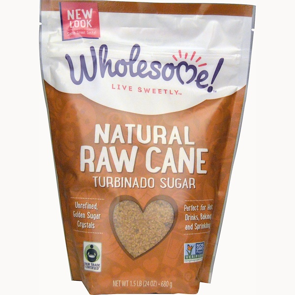 Wholesome Sweeteners, Inc., Natural Raw Cane, Turbinado Sugar, 1.5 lbs (24 oz.) - 680 g