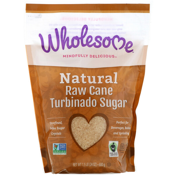 Natural Raw Cane, Turbinado Sugar, 1.5 lbs (24 oz.) - 680 g