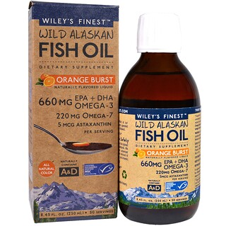 Wiley's Finest, Wild Alaskan Fish Oil, Orange Burst, 660 mg, 8.4 fl oz. (250 ml)
