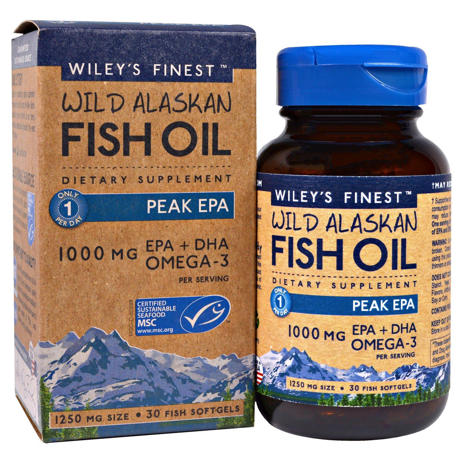 Wiley 39 s finest wild alaskan fish oil peak epa 1250 mg for Fish oil epa dha
