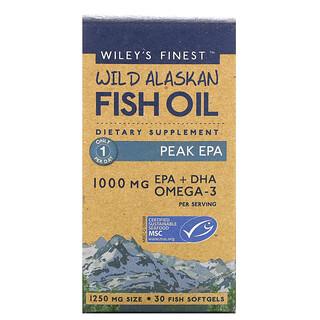 Wiley's Finest, Wild Alaskan Fish Oil, Peak EPA, 1,000 mg, 30 Fish Softgels