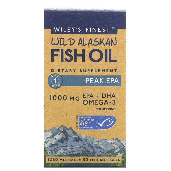 Wild Alaskan Fish Oil, Peak EPA, 1,000 mg, 30 Fish Softgels