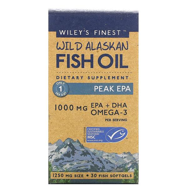 жир диких аляскинских рыб, Peak ЭПК, 1000мг, 30рыбных капсул