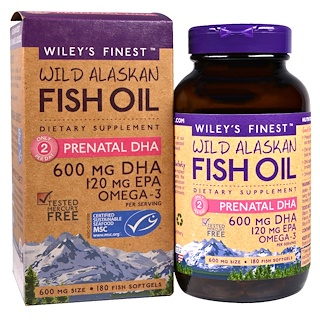 Wiley's Finest, Wild Alaskan Fish Oil, Prenatal DHA, 600 mg, 180 Fish Softgels