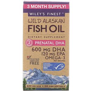 Вилис Файнест, Wild Alaskan Fish Oil, Prenatal DHA, 600 mg, 180 Fish Softgels отзывы