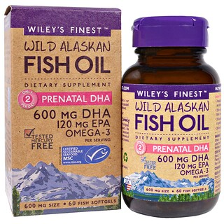 Wiley's Finest, Wild Alaskan Fish Oil, Prenatal DHA, 600 mg, 60 Fish Softgels