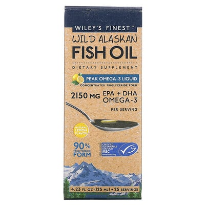 Wiley's Finest Wild Alaskan Fish Oil, Peak Omega-3 Liquid, Natural Lemon Flavor, 2,150 mg, 4.23 fl oz (125 ml)