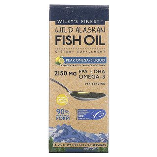 Wiley's Finest, рыбий жир из дикой рыбы Аляски, жидкий, с максимальным содержанием омега-3, натуральный лимонный вкус, 2150мг, 125мл (4,23жидк.унций)
