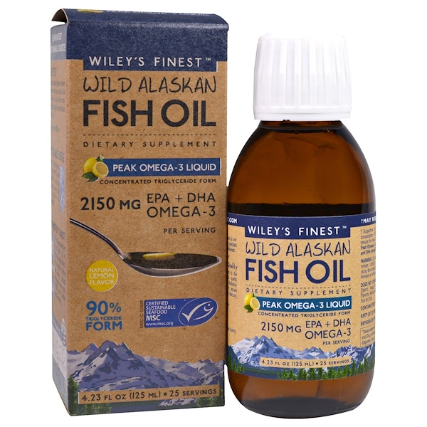 Wiley's Finest, Wild Alaskan Fish Oil, Peak Omega-3 Liquid, Natural Lemon Flavor, 2,150 mg, 4.23 fl oz (125 ml)