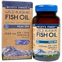 Аляскинский рыбий жир, пик ЭПК, 1250 мг, 60  рыбных  мягких капсул - фото