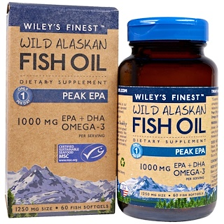 Wiley's Finest, Wild Alaskan Fish Oil, Peak EPA, 1250 mg, 60 Fish Softgels