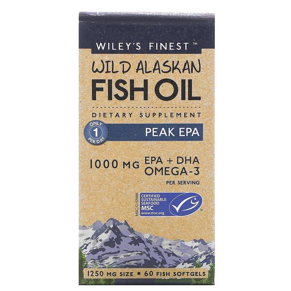 ワイルドアラスカフィッシュオイル、ピークEPA、1,000mg、魚ソフトジェル60粒