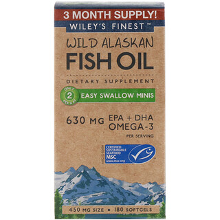 Wiley's Finest, Aceite de pescado de Alaska, minis fácil de tragar, 450 mg, 180 cápsulas suaves