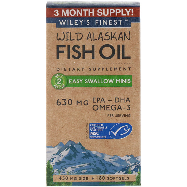 Wild Alaskan Fish Oil, Easy Swallow Minis, 630 mg, 180 Softgels