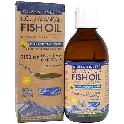 Wiley's Finest 野生阿拉斯加魚油,Omega-3營養液,天然檸檬味,2150 mg,8.45 fl oz (250 ml)