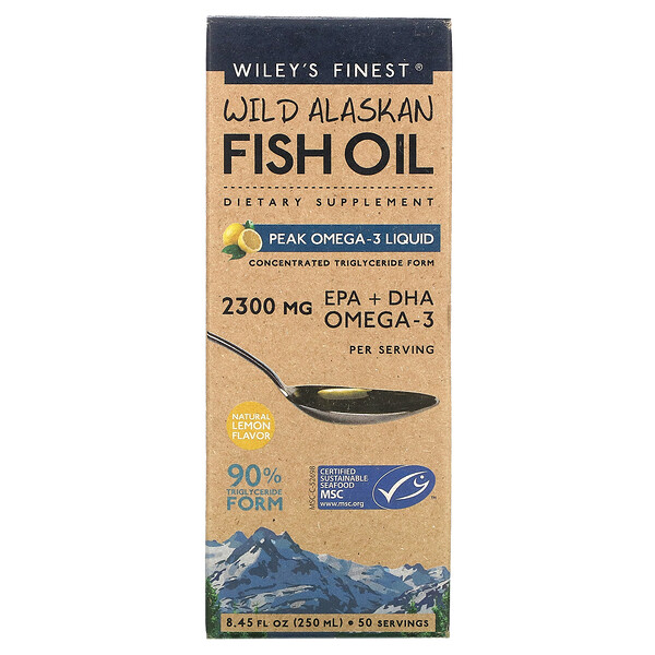 Wiley's Finest, Wild Alaskan Fish Oil, Peak Omega-3 Liquid, Natural Lemon , 8.45 fl oz (250 ml)